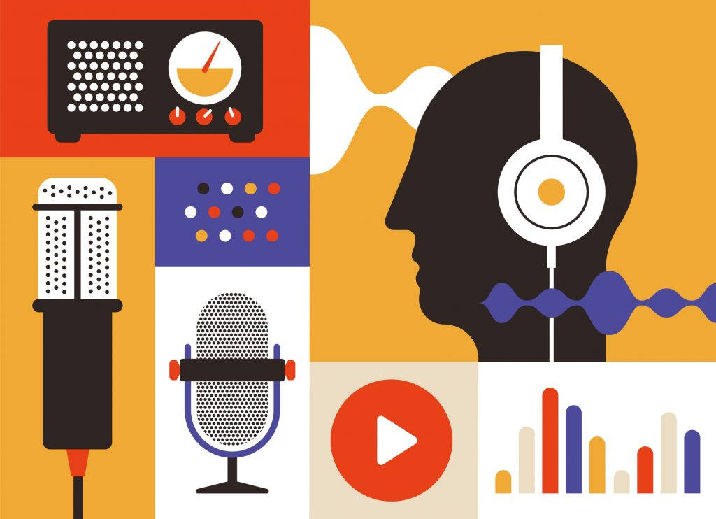 Podcast radio icons illustration set. Studio table microphone , men head with headset voice tracking, charts and play button.. Webcast audio record concept poster and logo.