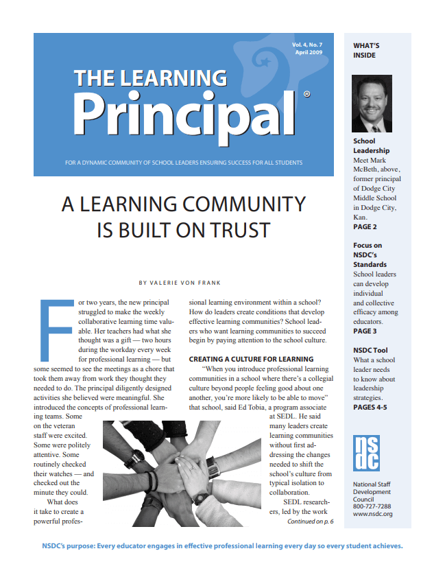 The Learning Principal, April 2009, Vol. 4, No. 7