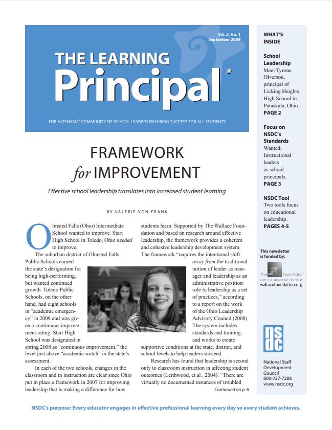 The Learning Principal, September 2009, Vol. 5, No. 1