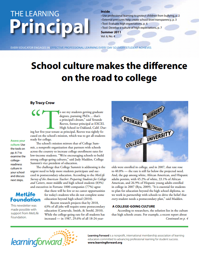 The Learning Principal, Summer 2011, Vol. 6, No. 4