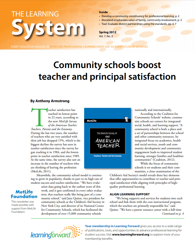The Learning System, Spring 2012 , Vol. 7, No. 3