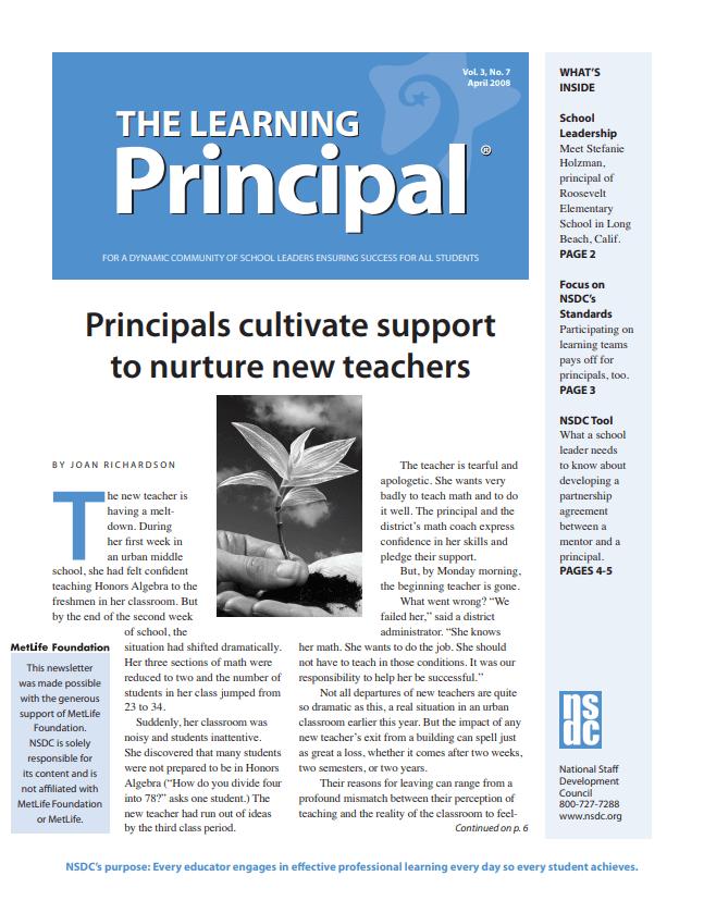 The Learning Principal, April 2008, Vol. 3, No. 7