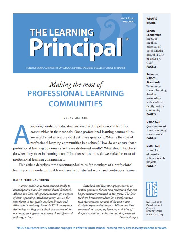 The Learning Principal, May 2008, Vol. 3, No. 8