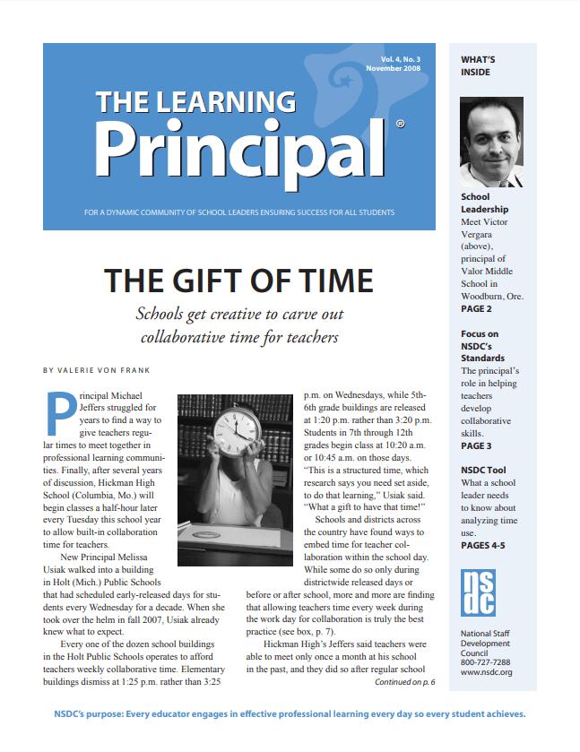 The Learning Principal, November 2008, Vol. 4, No. 3