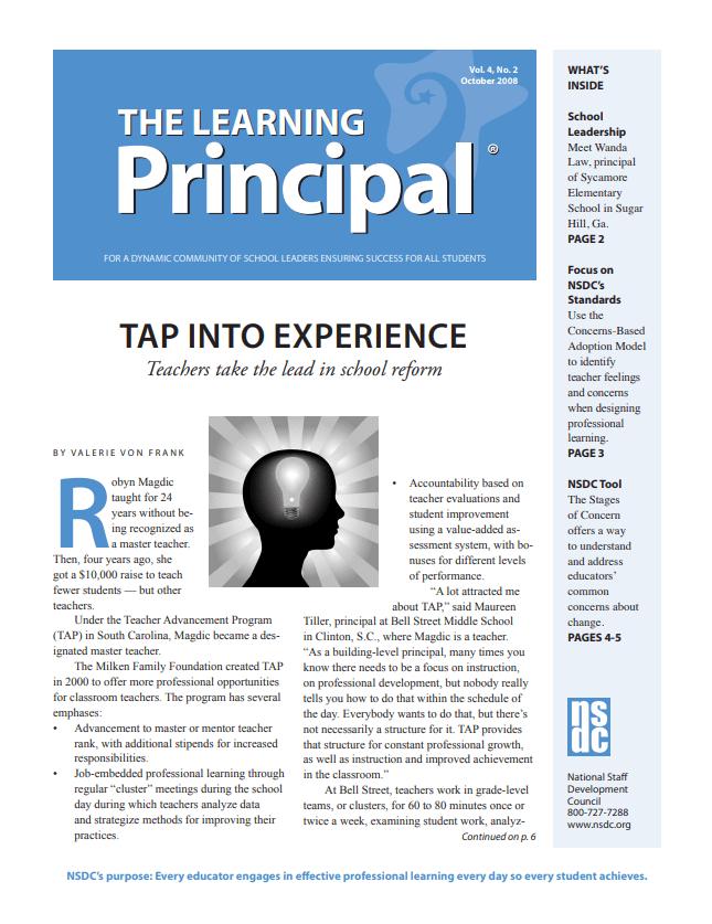 The Learning Principal, October 2008, Vol. 4, No. 2