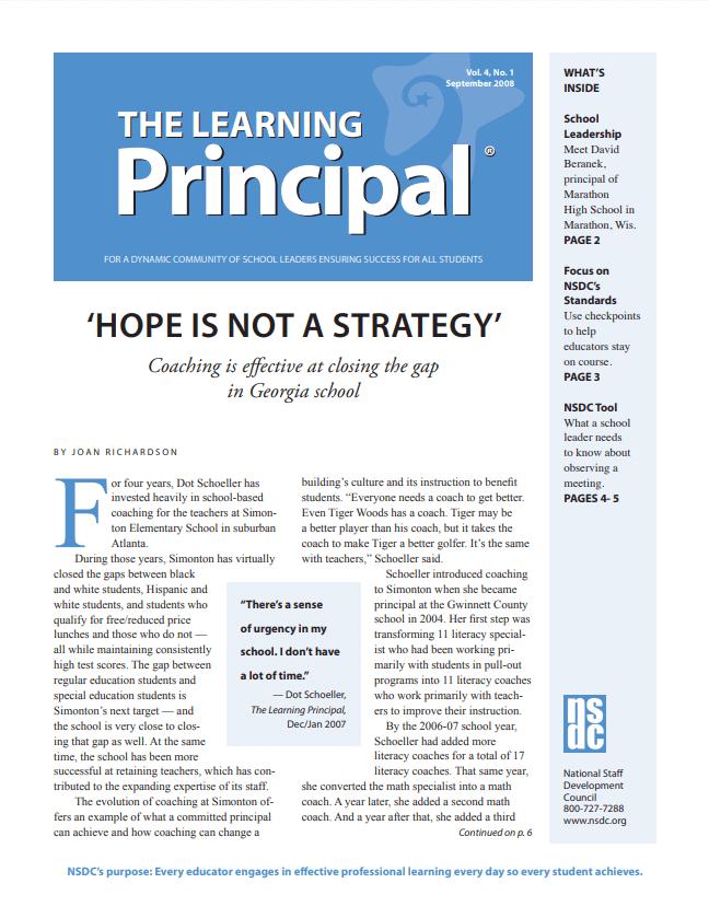 The Learning Principal, September 2008, Vol. 4, No. 1